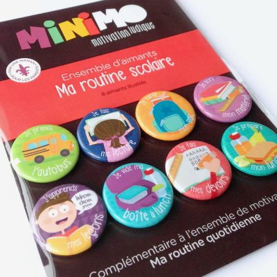 Ensemble de motivation - Ma Routine Scolaire - 8 aimants par Minimo Motivation